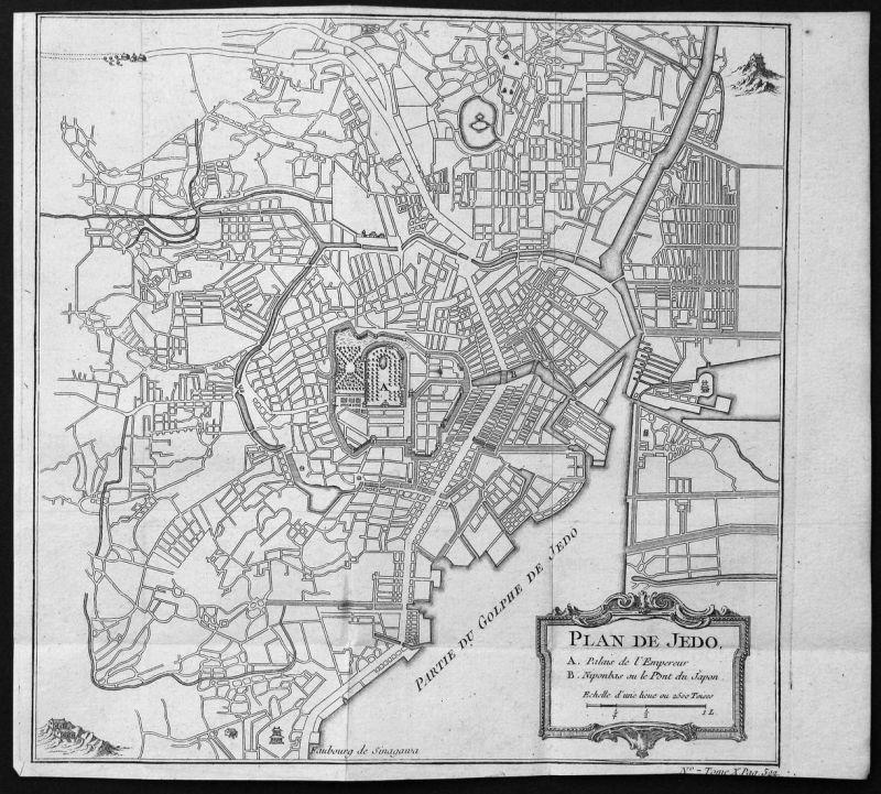 Plan de Jedo - Tokio Tokyo Japan Plan Karte map Kupferstich antique print