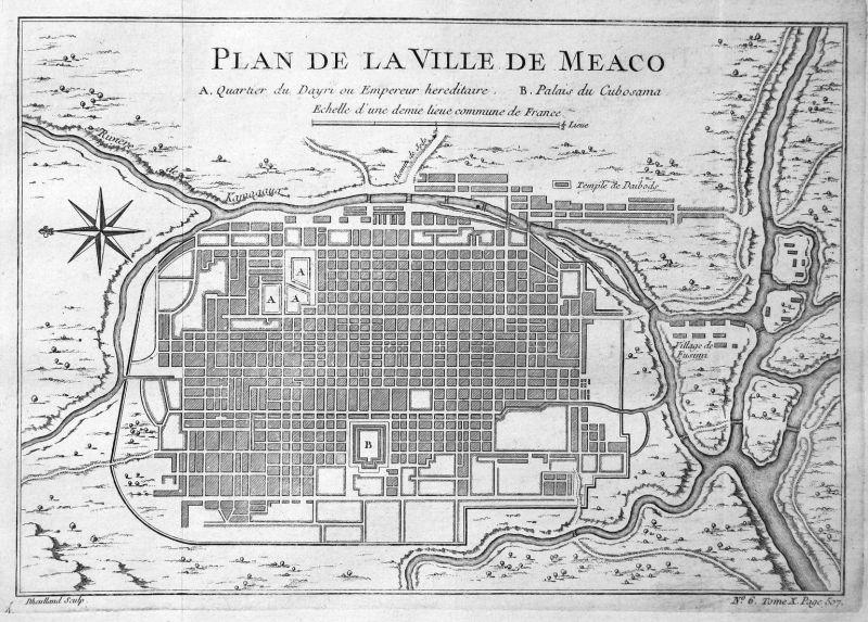 Plan de la Ville de Meaco - Meaco Kyoto Japan Plan city Karte map Kupferstich antique print