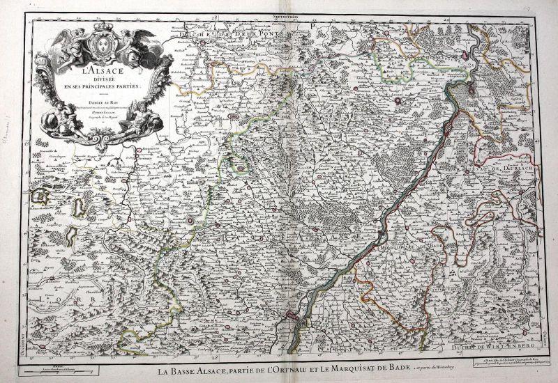 L'Alsace - Elsass Alsace Strasbourg Rhein Haguenau France carte gravure Karte map Kupferstich antique print