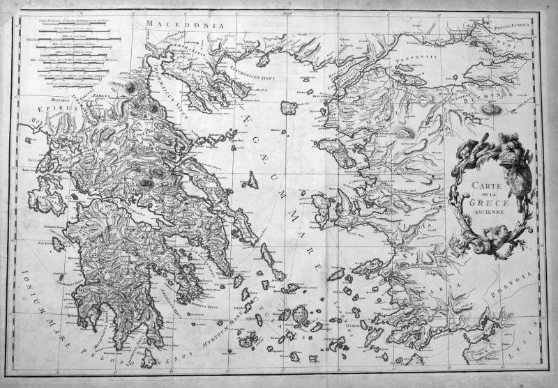 Carte de la Grece ancienne - Griechenland Greece Peloponnese Karte map Kupferstich antique print