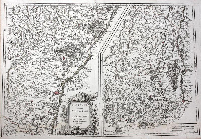 L'Alsace divisee en Haute et Basse et le Sundgau - Elsass Alsace Frace carte gravure Basel Breisach Rhein Stra