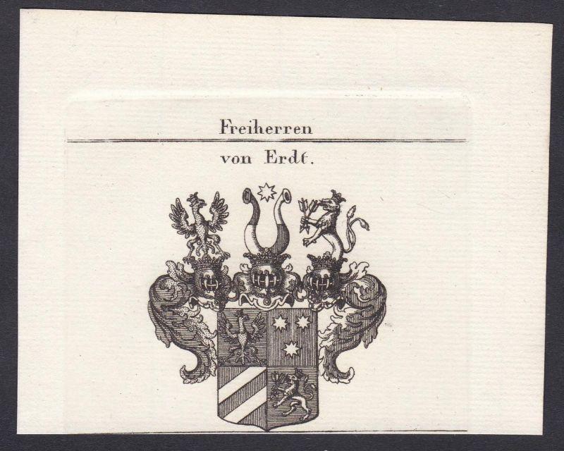 Freiherren von Erdt - Erdt Wappen Adel coat of arms heraldry Heraldik Kupferstich antique print
