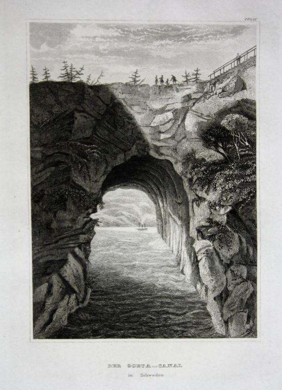 Der Goeta-Canal in Schweden - Göta-Kanal Schweden Sweden Ansicht view vue Stahlstich steel engraving gravure a