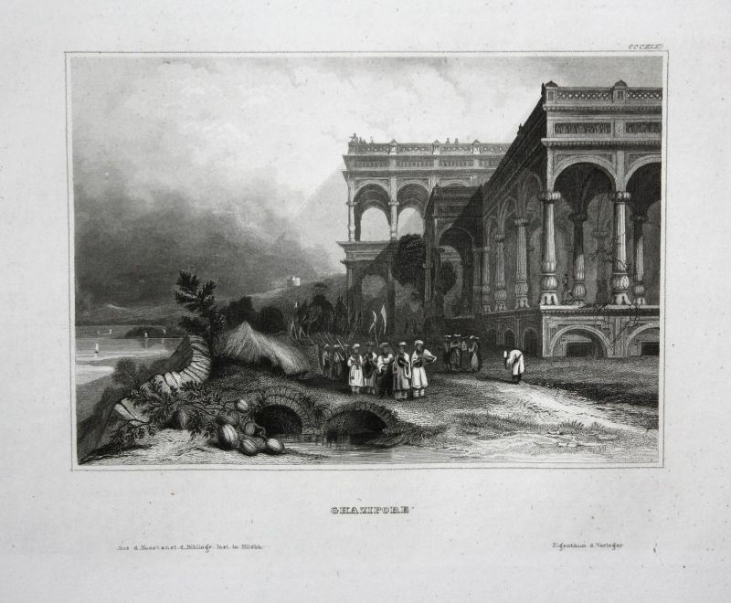 Ghazipore - Ghazipur India Indien Asia Asien Ansicht view Stahlstich steel engraving antique print