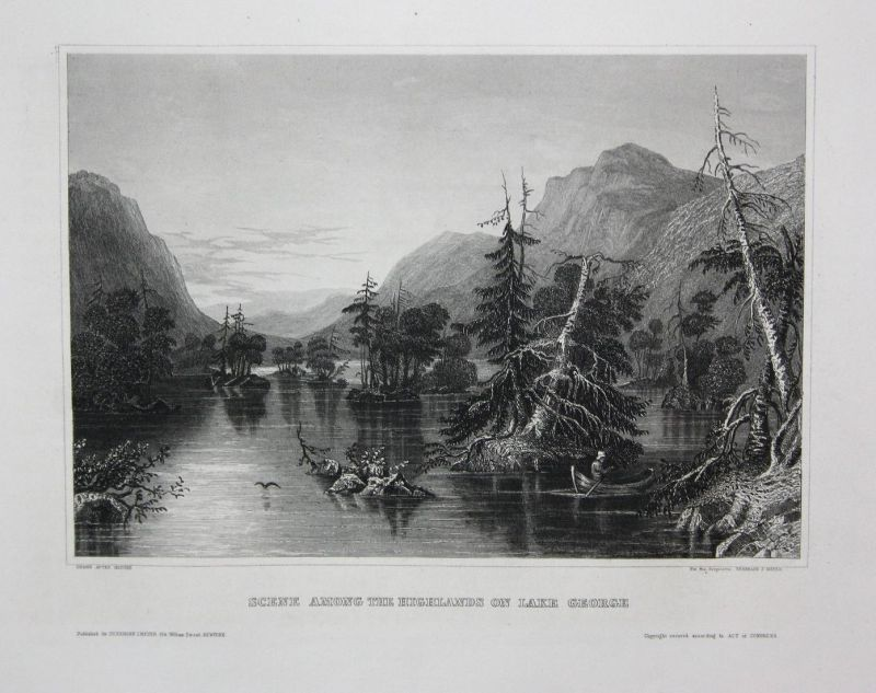 Scene among the Highlands on Lake George - Lake George New York NY Amerika America USA  Ansicht view vue Stahl
