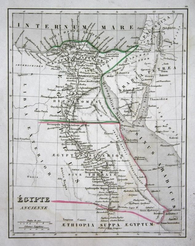 Egypte Ancienne - Ägypten Egypt Kairo Cairo Hurghada map Karte engraving on