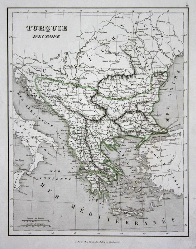 Turquie d'Europe - Griechenland Greece Türkei Turkey Europa Europe map Karte engraving antique print