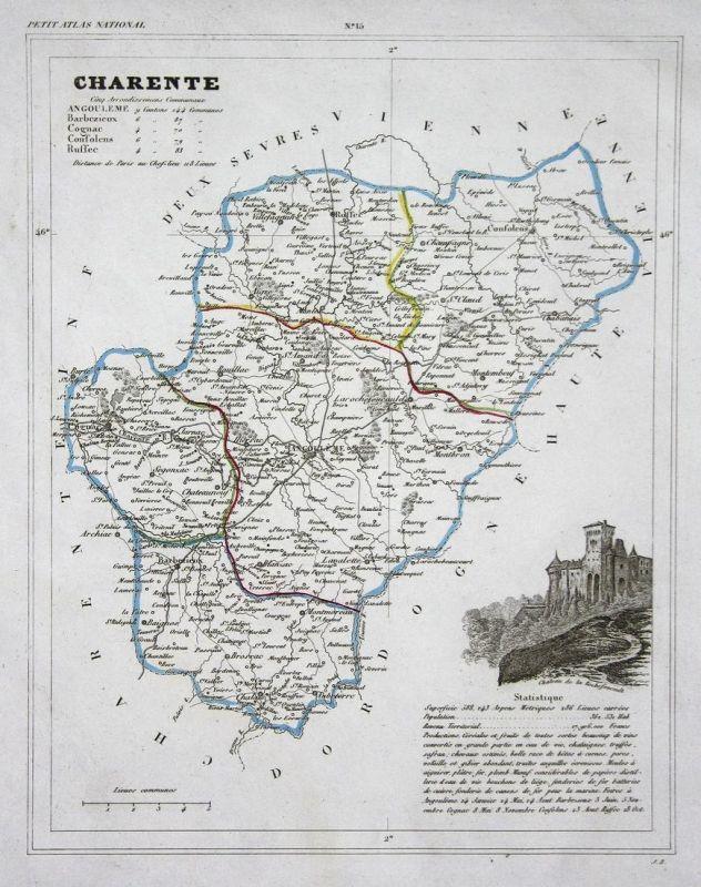 Charente - Charente Frankreich France Nouvelle-Aquitaine département map Karte engraving antique print