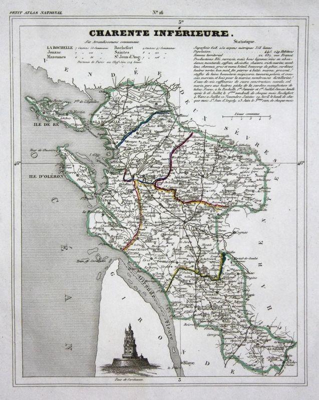 Charente Inferieure - Charente-Maritime Frankreich France Nouvelle-Aquitaine département map Karte engraving a