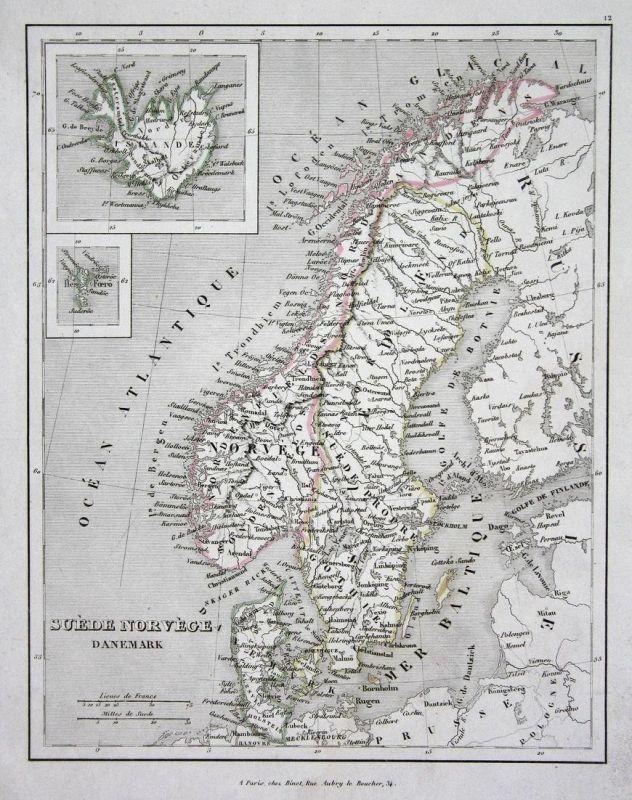 Suede Norvege Danemark - Norwegen Norge Dänemark Danmark Schweden Sverige map Karte engraving antique print