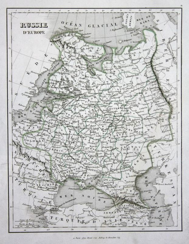 Russie d'Europe - Russland Russie Russia Europe Europa map Karte engraving antique print