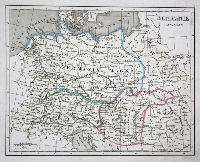 Germanie Ancienne - Germany Deutschland Schweiz Svizzera Österreich Austria Italien Italia map Karte engraving