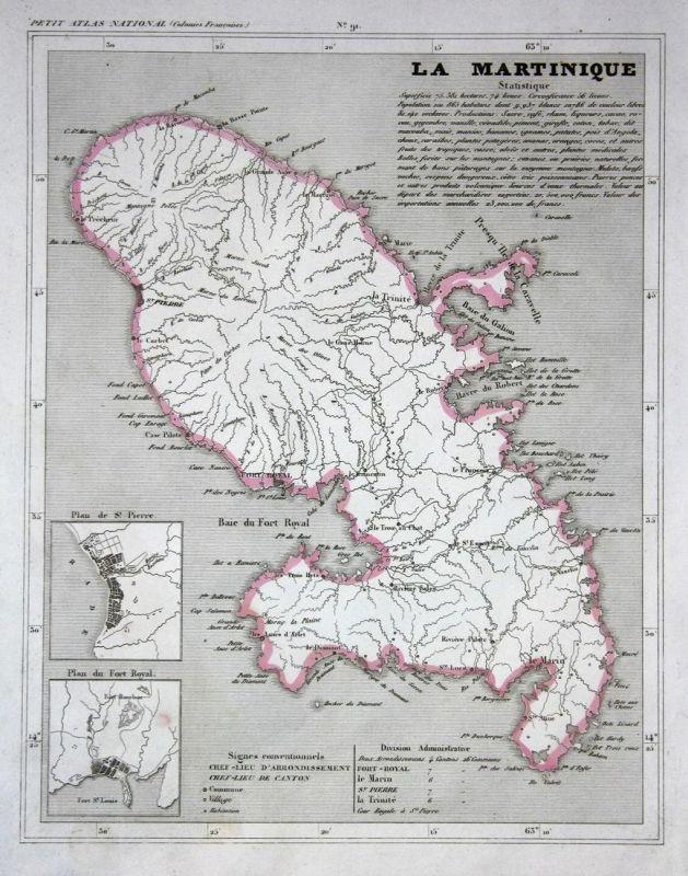 La Martinique - Martinique Frankreich France Karibik Caribbean map Karte engraving antique print