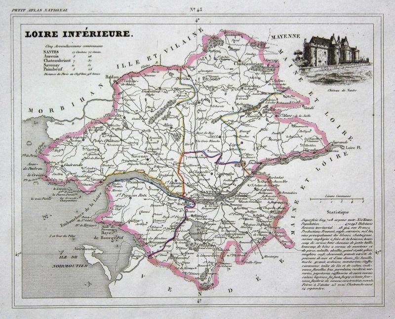 Nantes Karte.Loire Inferieure Loire Atlantique Nantes Pays De La Loire Frankreich France Département Map Karte Engraving