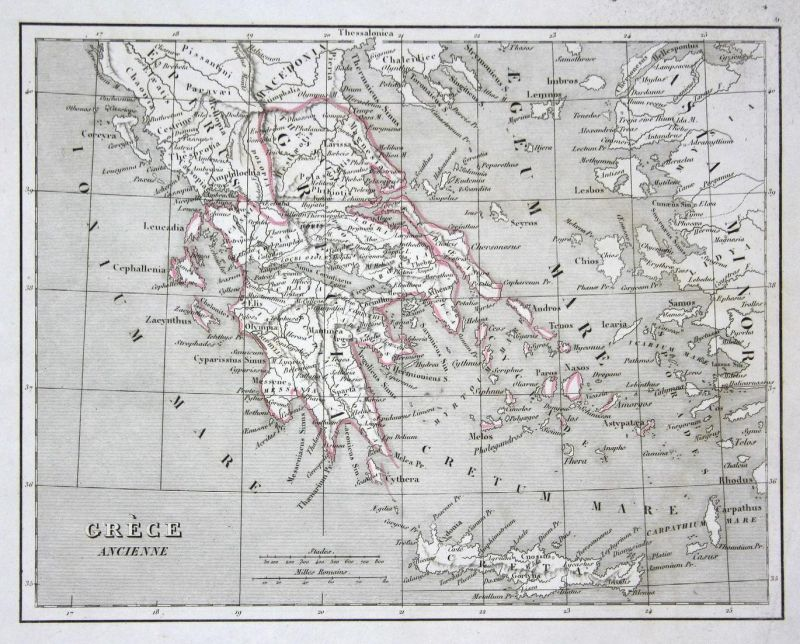 Grèce Ancienne - Griechenland Greece Crete Kreta Athen Athens Inseln islands map Karte engraving antique print