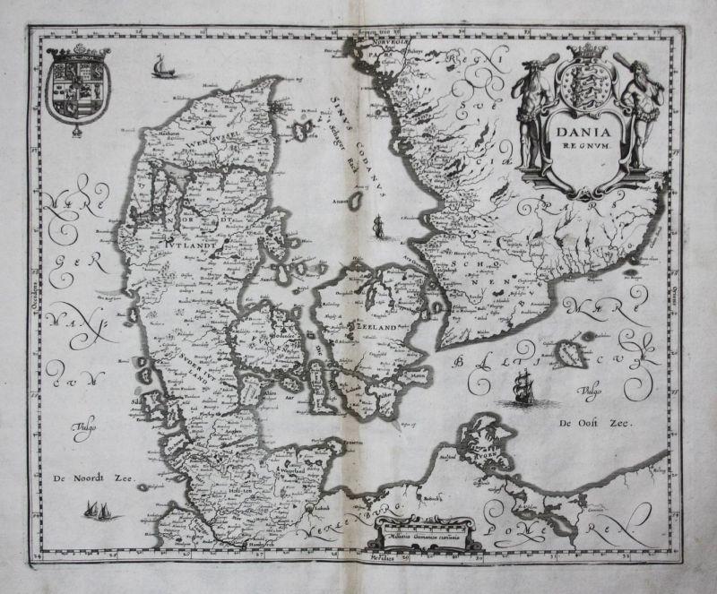 Dania Regnum - Denmark Danmark Dänemark Karte plan map Kupferstich antique print