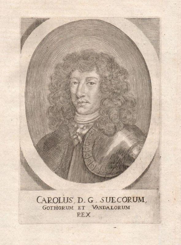 Carolus D.G. Suecorum - Karl Gustav Sverige Sweden Schweden king Potrait Kupferstich copper engraving antique