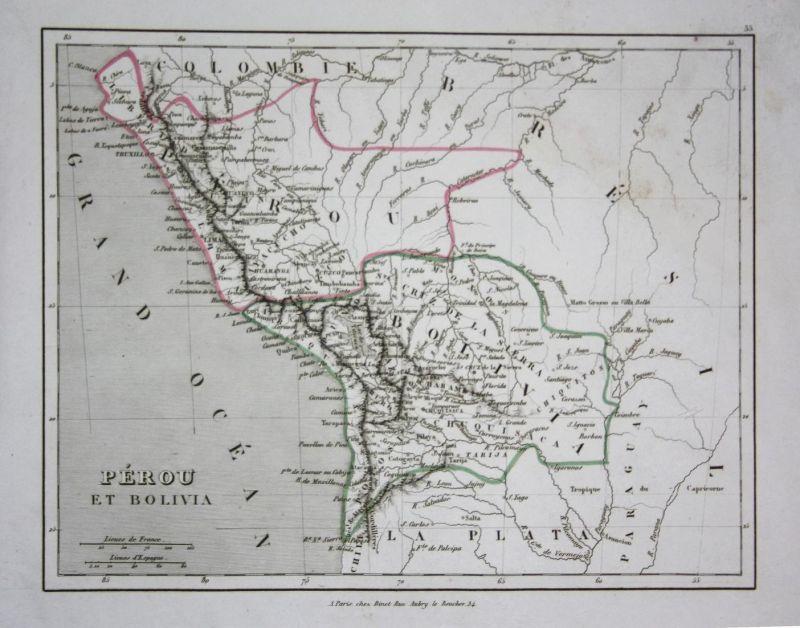 Peru Karte Südamerika.Perou Et Bolivia Peru Bolivia Bolivien Südamerika South America Amerika Karte Map Carte Engraving Gravure An
