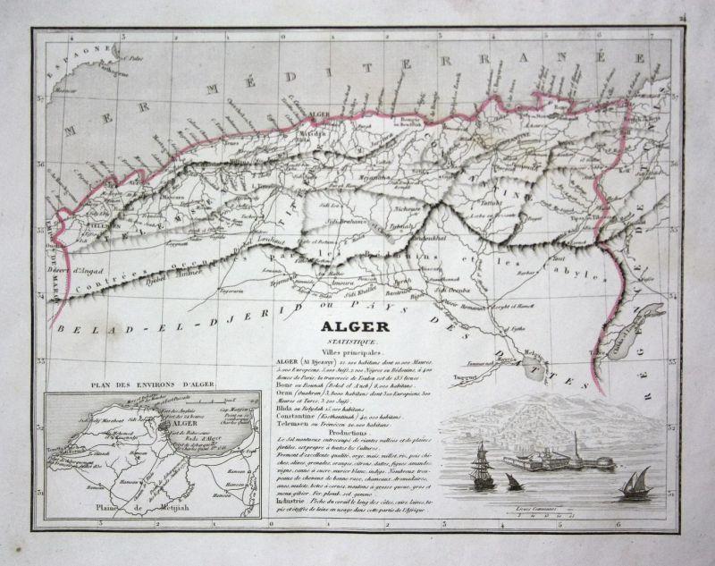Alger -  Algerien Algeria Afrika Nordafrika Africa North Africa Karte map carte engraving gravure antique prin