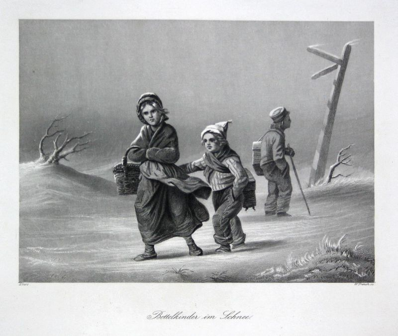 Bettelkinder im Schnee - Bettler beggar Kinder children Schnee snow Stahlstich steel engraving Ebers French