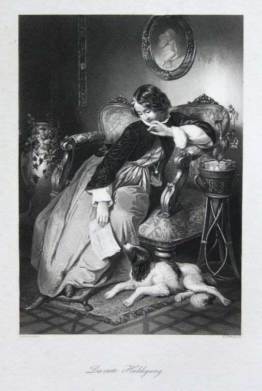 Die erste Huldigung - Huldigung homage Ehrung honor Mädchen girl Stahlstich steel engraving Hemerlein French