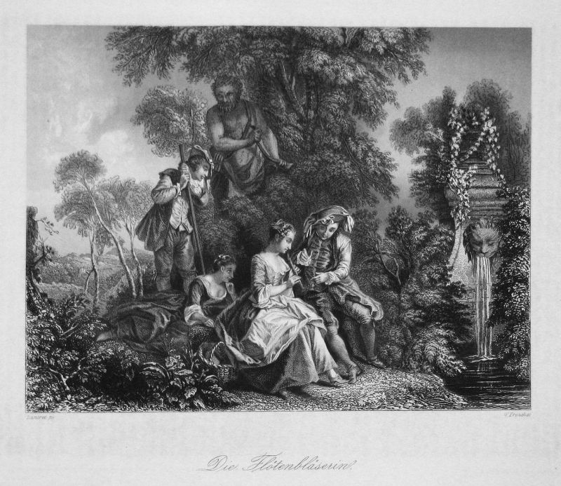 Die Flötenbläserin - Flöte flute Bläserin Flötenbläserin Frau Mann Stahlstich steel engraving Lancret French