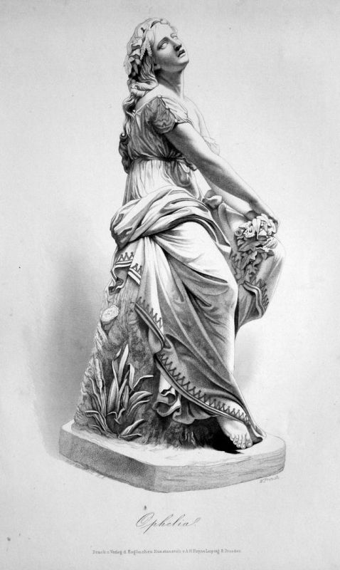 Ophelia -  Ophelia Adelige noblewoman Statue statue Stahlstich steel engraving Marshall French
