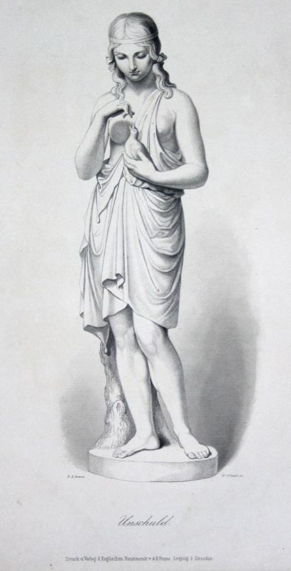 Unschuld - Unschuld Statue Frau woman statue Stahlstich steel engraving Spence French