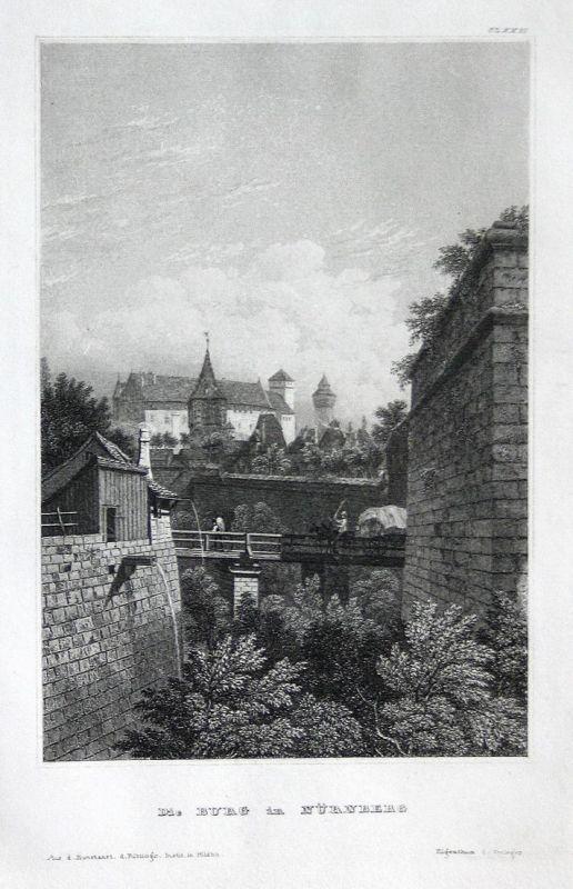 Die Burg in Nürnberg - Nürnberg Nuremberg Burg castle Franken Bayern Bavaria Ansicht view Stahlstich steel eng