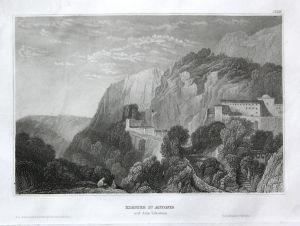 Kloster St. Antonio auf dem Libanon - St. Antonio Kloster monastery Libanon Lebanon Ansicht view Stahlstich st