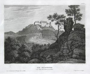 Die Wartburg von der Nordwestseite - Wartburg Burg castle Thüringen Eisenach Ansicht view Stahlstich steel eng