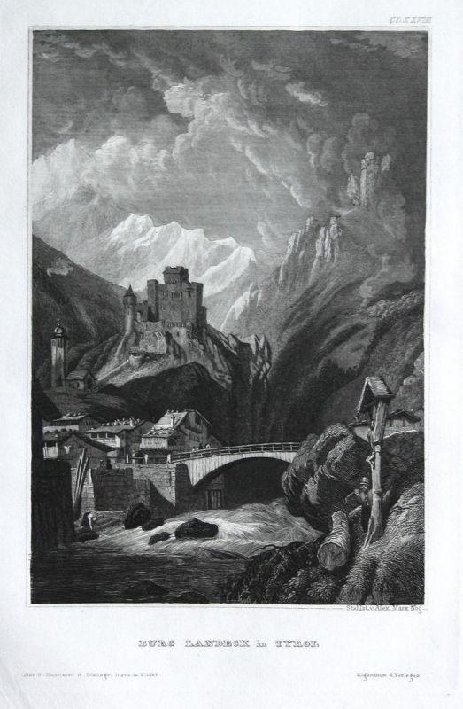 Burg Landeck in Tyrol - Burg Landeck Rheinland-Pfalz Ansicht view Stahlstich steel engraving antique print