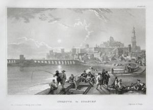Cordova in Spanien - Córdoba Spanien Spain Espana Ansicht view Stahlstich steel engraving antique print