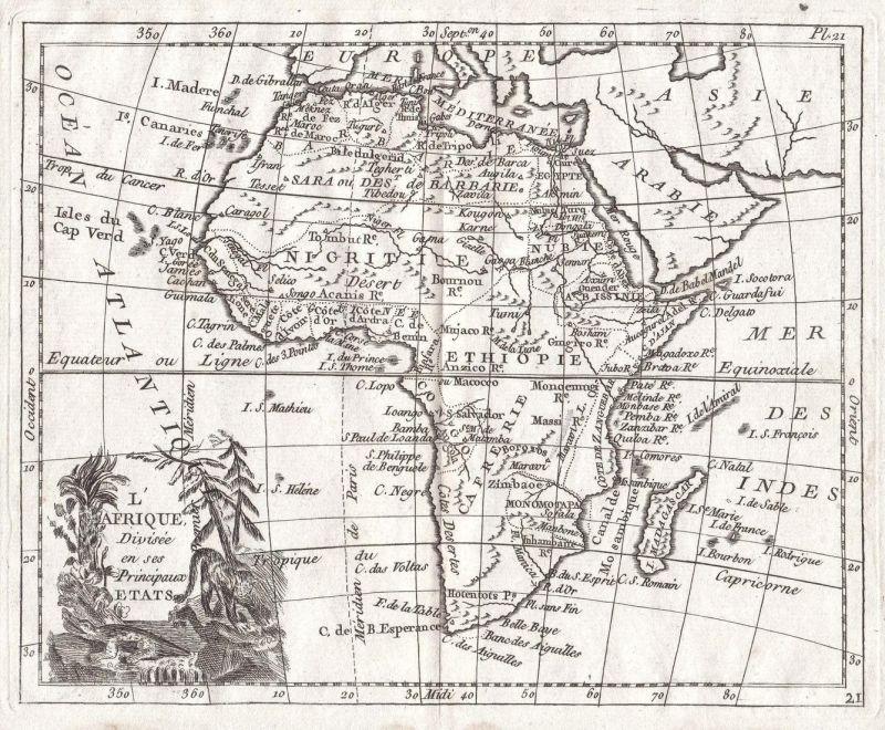 L'Afrique. Divisee en ses Principaux Etats - Afrika Africa Südafrika Nordafrika South North Africa Karte map K