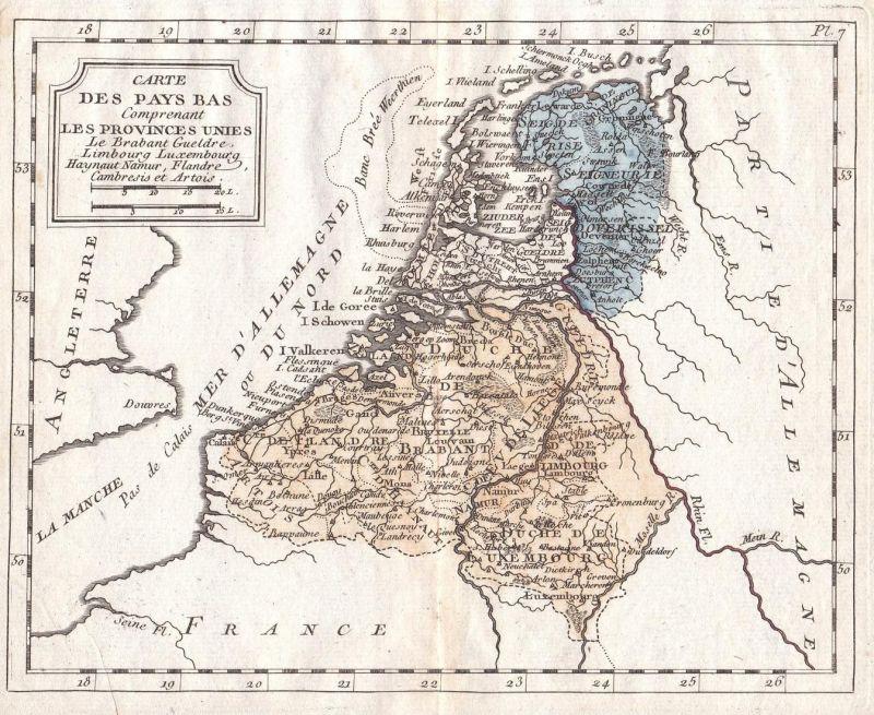 Carte des Pays Bas Comprenant les Provinces Unies - Niederlande Netherlands Belgien Belgium Belgique Karte map
