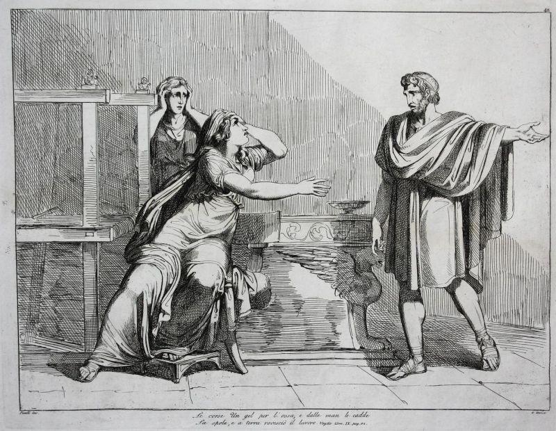 La corse un gel per l'ossa, e dalle man le cadde... -  scene Szene discussion The Aeneid Aeneis Vergil Virgil