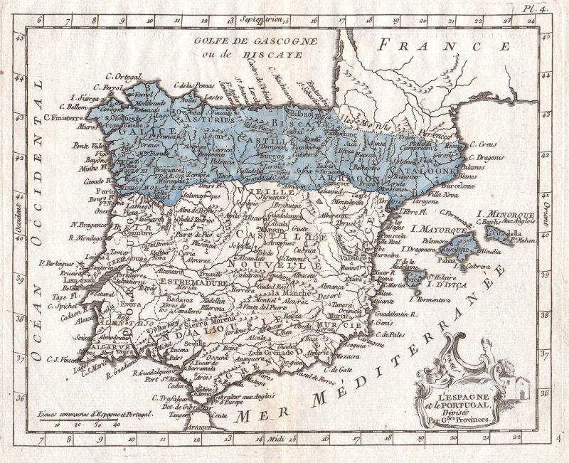 L'Espagne et le Portugal - Spanien Spain Espana Portugal Europa Europe Karte map Kupferstich copper engraving