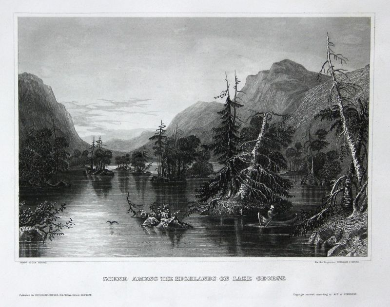 Scene among the Highlands an Lake George - Lake George New York Amerika America USA Ansicht view Stahlstich st