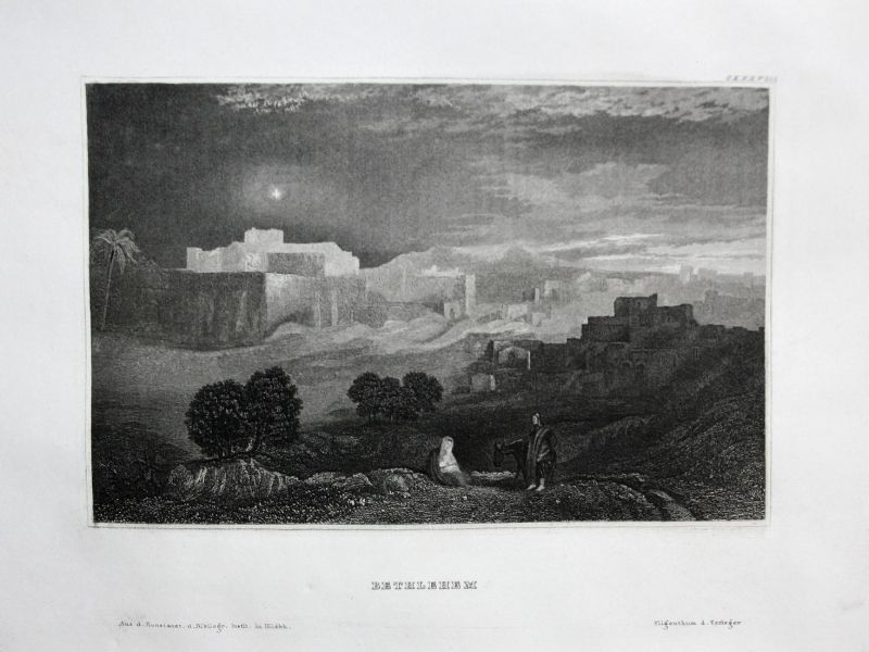Bethlehem - Bethlehem Israel Asia Asien Asie Ansicht view Stahlstich steel engraving antique print