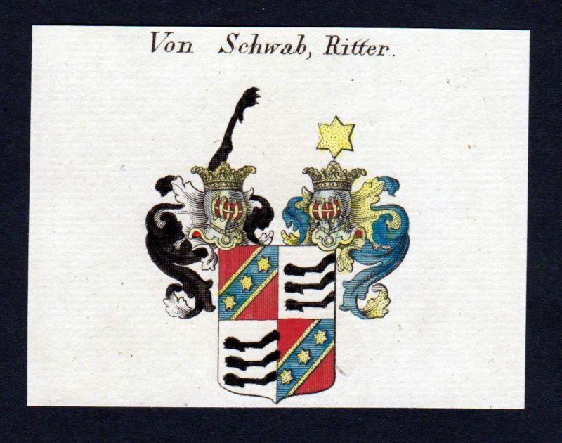 von Schwab - Schwab Wappen Adel coat of arms heraldry Heraldik Kupferstich