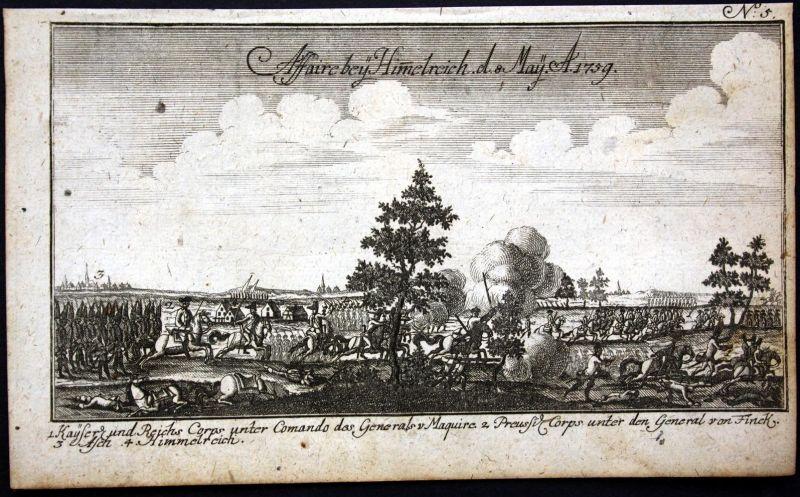 Affaire bey Himmelreich 8 May 1759 - Himmelreich Nebesa Czech Krieg battle Schlacht Kupferstich engraving