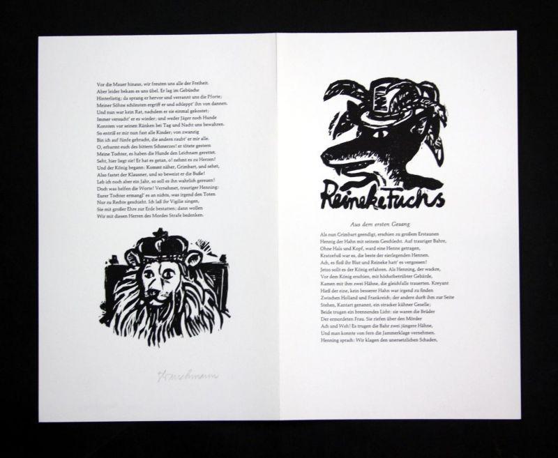 Original-Linolschnitt von Went Strauchmann zu Aus dem ersten Gesang