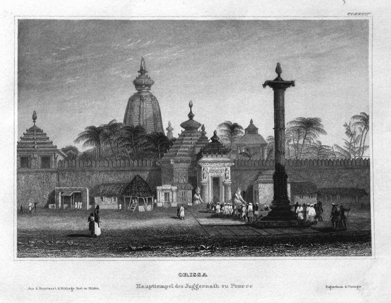 Orissa - Odisha Indien India Asien Asia Asie Ansicht view Stahlstich steel engraving antique print