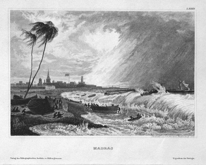 Madras - Chennai Madras Indien India Asien Asia Asie Ansicht view Stahlstich steel engraving antique print