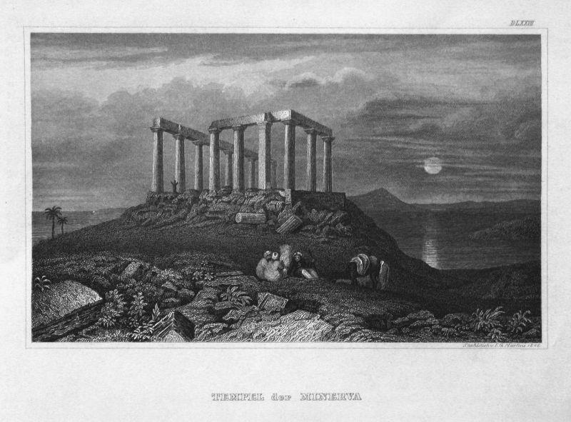 Tempel der Minerva - Tempel der Minerva Medica Rom Italien Italy Ansicht view Stahlstich steel engraving antiq