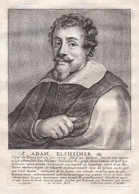 Adam Elsheimer - Adam Elsheimer Maler painter Barockmaler Portrait Kupferstich copper engraving antique print