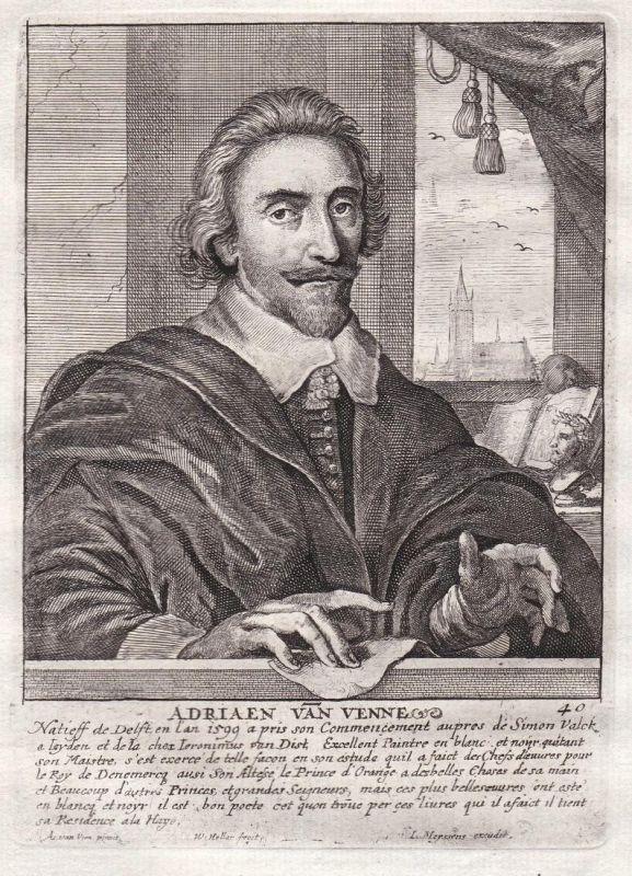 Adriaen van Venne - Adriaen Pietersz. van de Venne Maler painter Portrait Kupferstich copper engraving antique