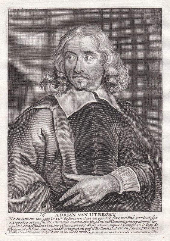 Adrian van Utrecht - Adriaen van Utrecht Maler painter Portrait Kupferstich copper engraving antique print