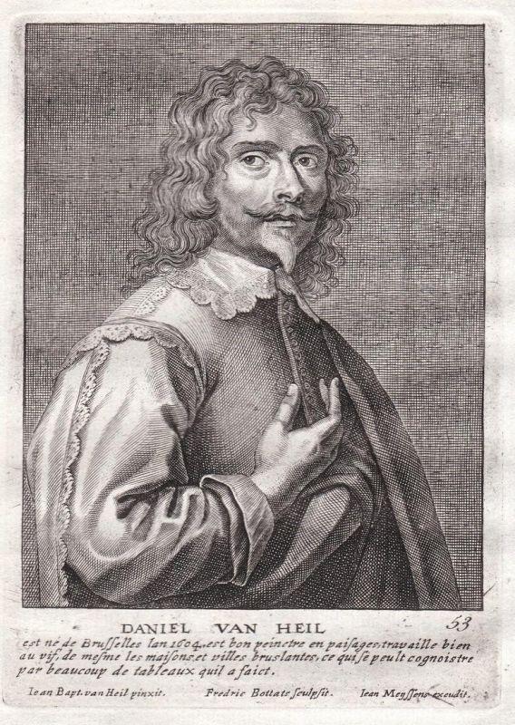 Daniel van Heil - Daniel van Heil Maler painter Portrait Kupferstich copper engraving antique print