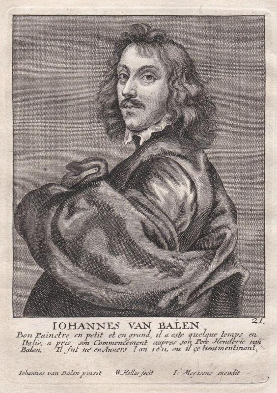 Iohannes van Balen - Jan van Balen Maler painter Portrait Kupferstich copper engraving antique print